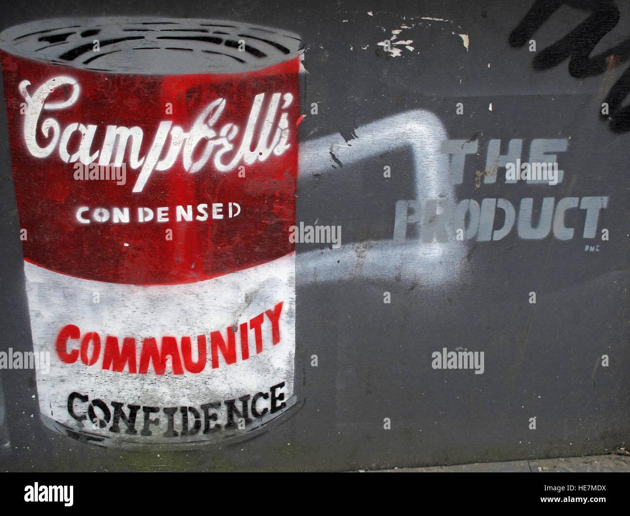 Laden Sie dieses Alamy Stockfoto Gemeinschaft Vertrauen, Campbells, Suppe Zinn, Garfield St Belfast City Centre, Nordirland, Vereinigtes Königreich - HE7MDX