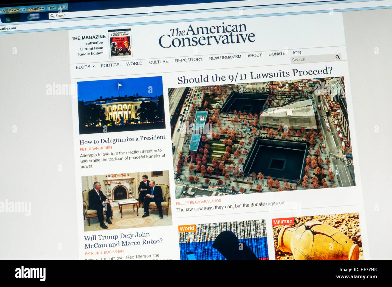 Rechter Flügel amerikanische Website der amerikanische Konservative. Stockbild
