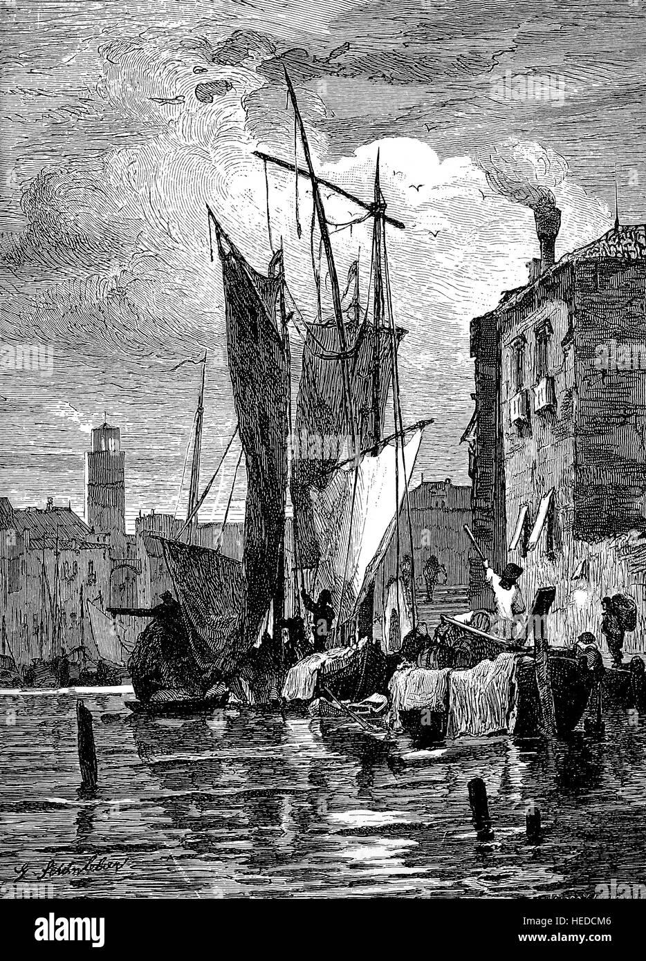 Auf der Insel Giudecca in der Lagune von Venedig, Italien, Hafen Szenen, von einem Holzschnitt von 1880, digital Stockbild