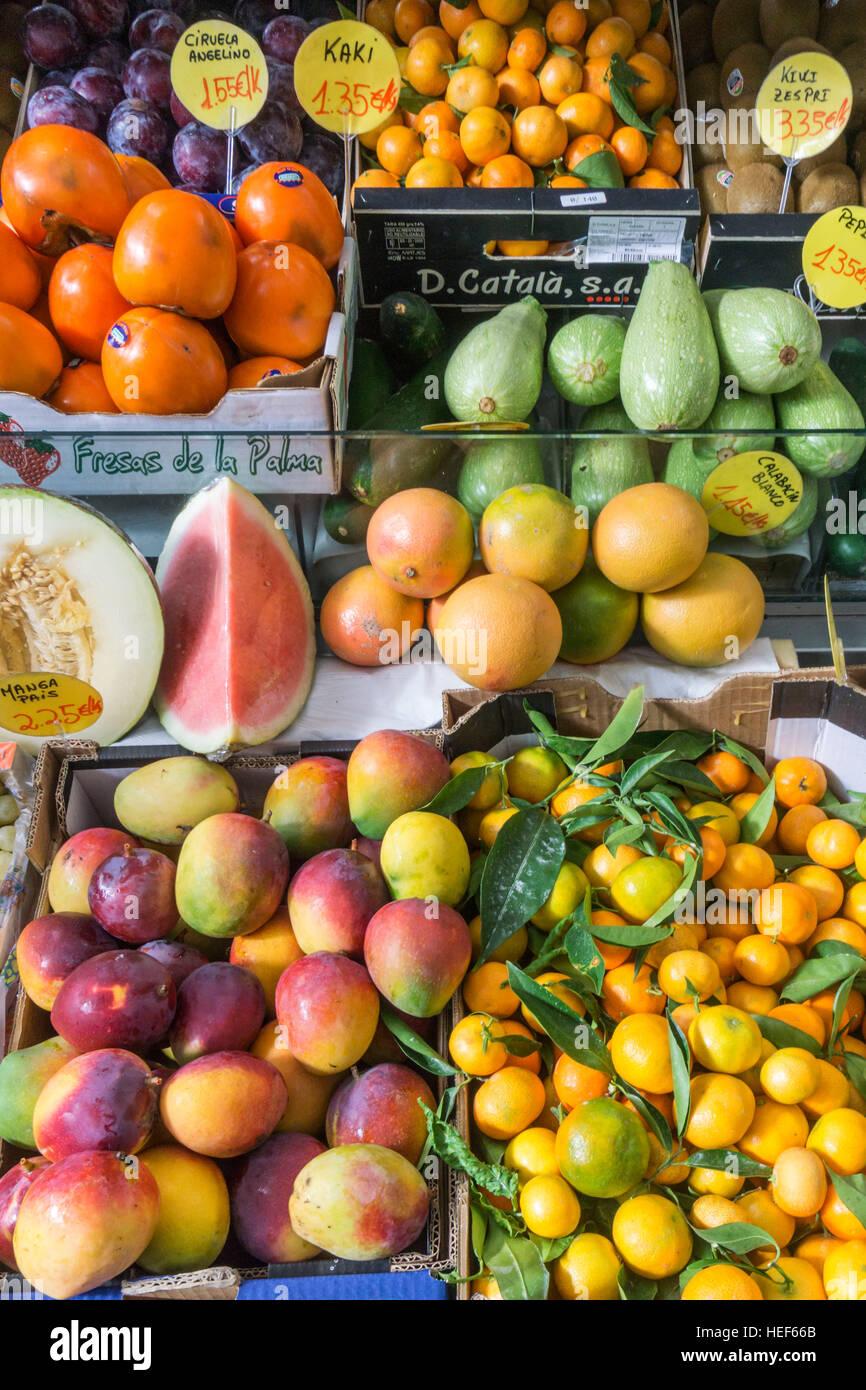 Bedeckt Markthalle, Obst, La Palma, Kanarische Inseln, Spanien Stockbild