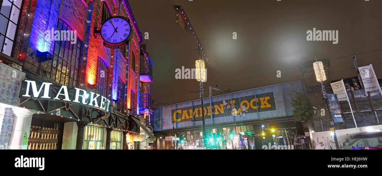 Laden Sie dieses Alamy Stockfoto Camden Lock & Stadtmarkt in der Nacht, Nord-London, England, UK pano - HEJ6HW