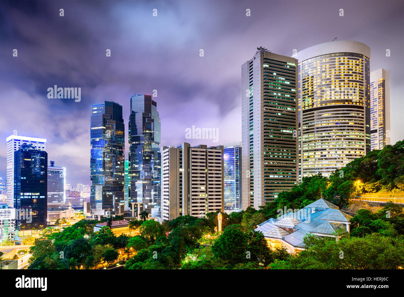 Hong Kong, China Stadtbild aus Hong Kong Park. Stockbild