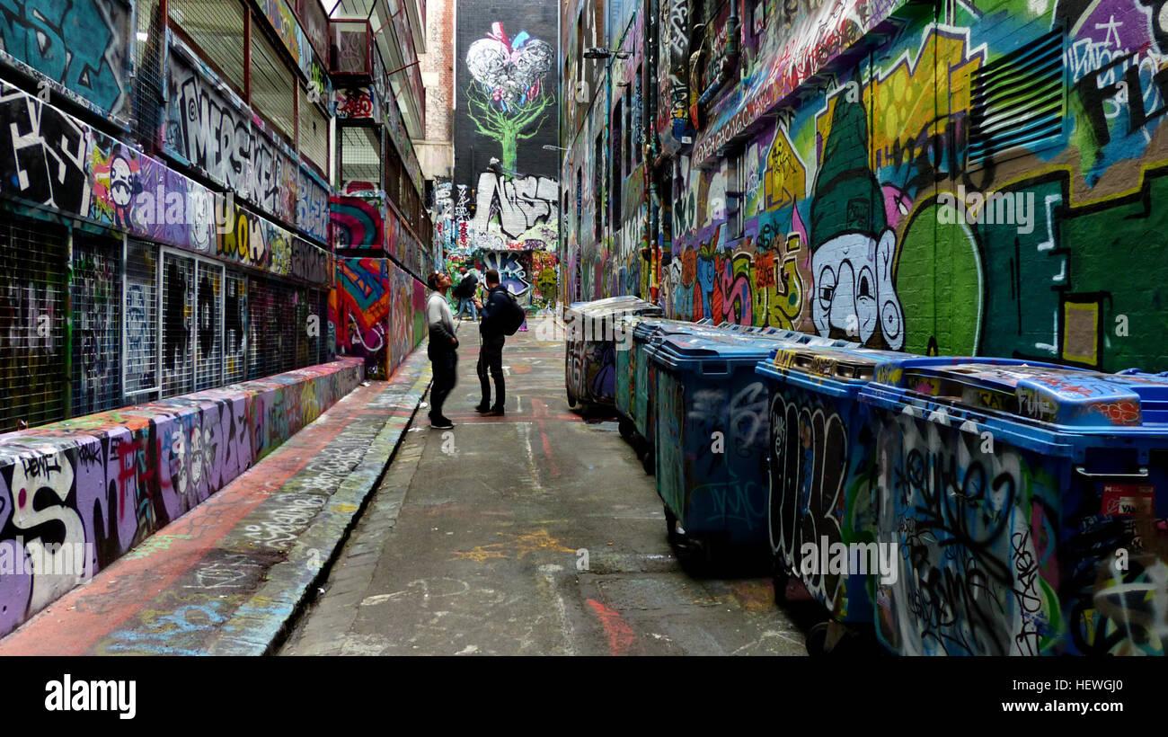 """Der Street Art-Leinwand auf Hosier Lane - Melbourne, Australien die Sache über """"street Art"""" heißt Stockbild"""