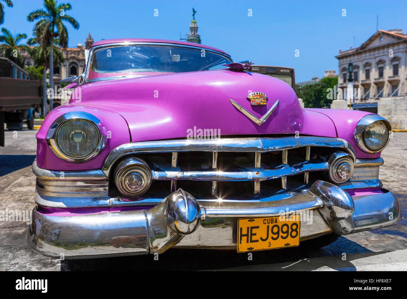Kuba, Auto. Amerikanische Oldtimer in Havanna, Kuba Stockbild