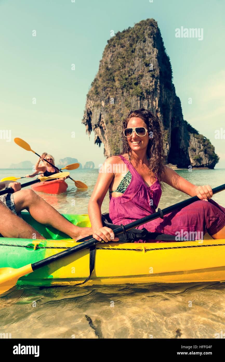 Kajak tropischen Urlaub Reise touristischen Boot-Konzept Stockbild