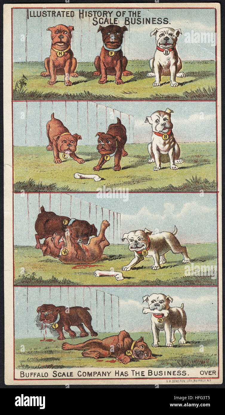 Landwirtschaft Handel Karten - illustrierte Geschichte des Geschäftsbereichs Skala. Buffalo-Skala-Unternehmen Stockbild