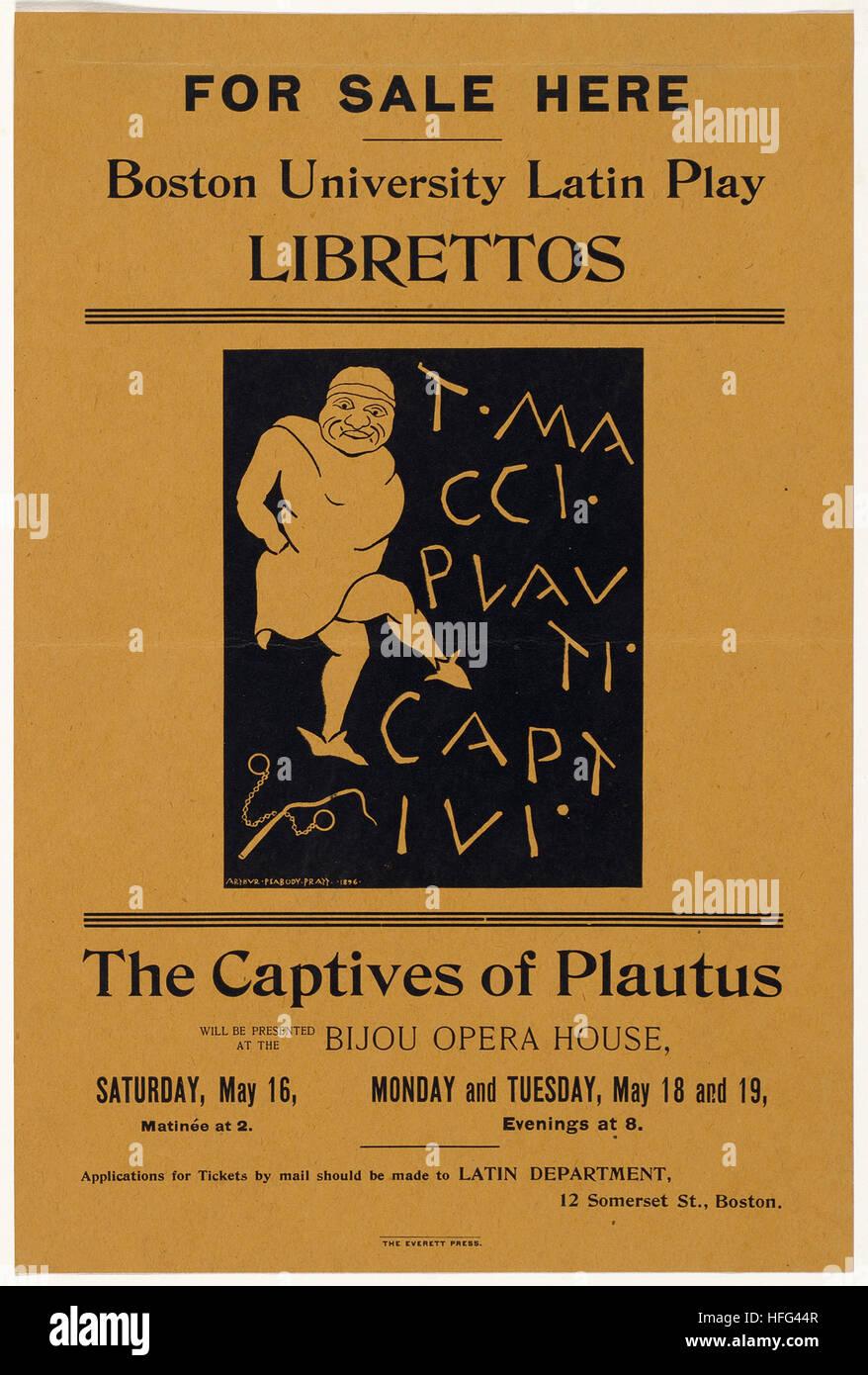 Hier zum Verkauf spielen Boston University Latin Libretti, die Gefangenen des Plautus Stockbild