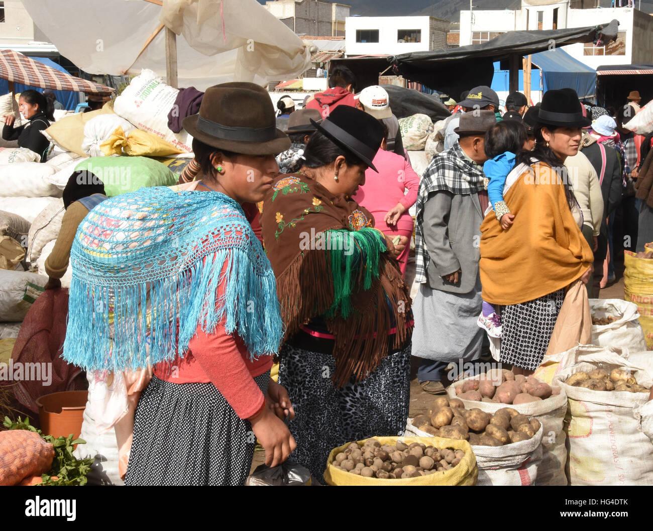 Donnerstag Märkte, Saquisili, Ecuador, Südamerika Stockbild