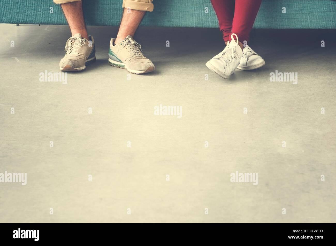 Gruppe von Menschen Beine Kopie Raumkonzept Stockbild