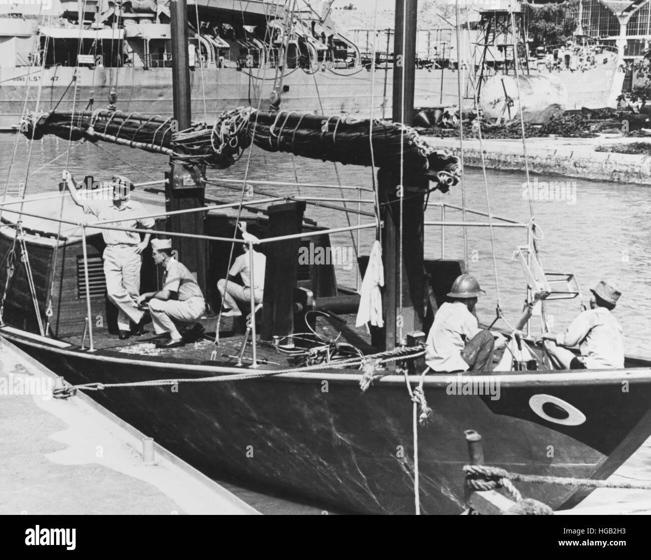 Ein Flaggschiff vietnamesische Befehl Junk-Boot mit US-Beratern an Bord. Stockbild