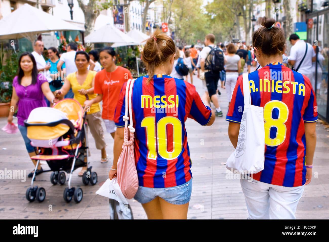 FC Barcelona Fans auf Las Ramblas, Barcelona Stockbild