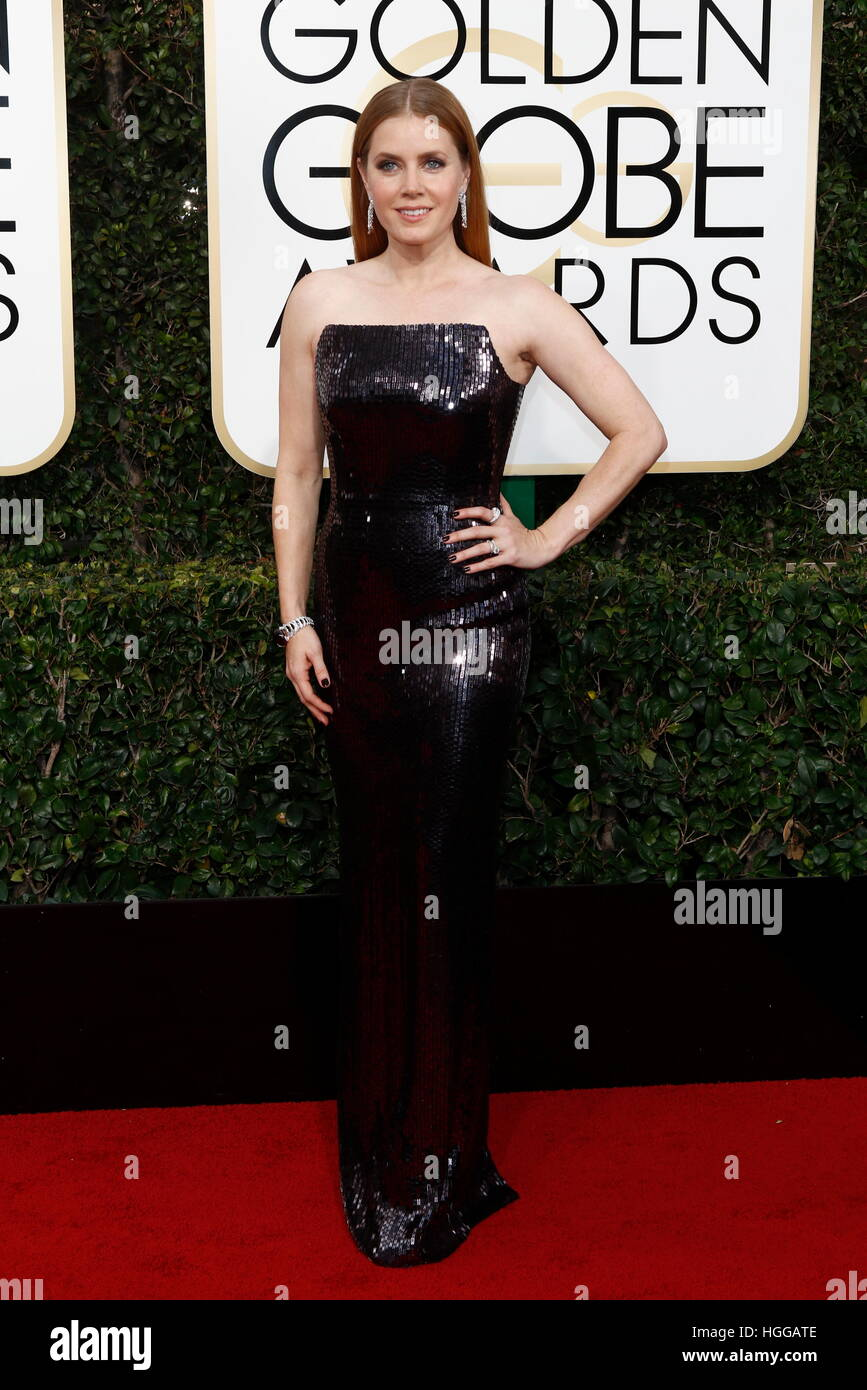 Beverly Hills, uns. 8. Januar 2017. Amy Adams kommt bei der 74. Annual Golden Globe Awards, Golden Globes in Beverly Stockfoto
