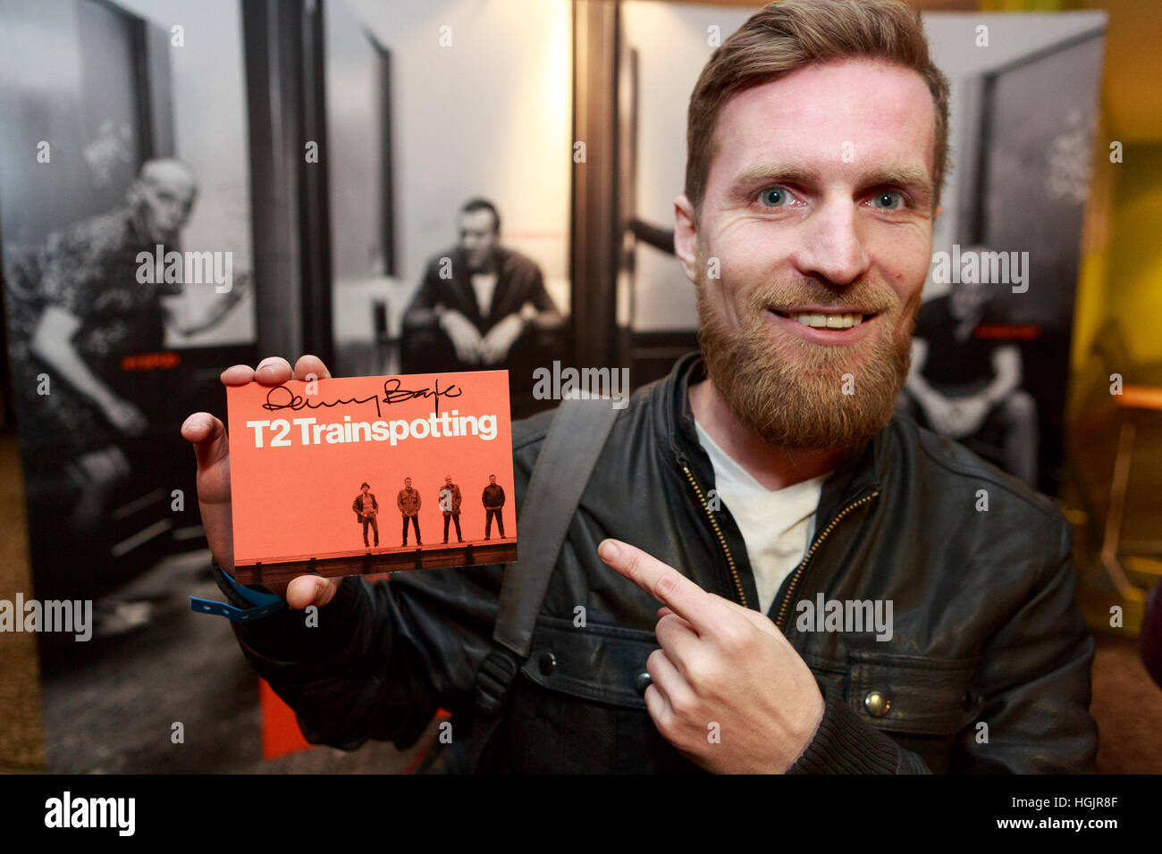 Edinburgh, UK. 22. Januar 2017. T2 Trainspotting Premiere beim Edinburgh Cineworld. Schottland. Abgebildete Kenny Stockbild