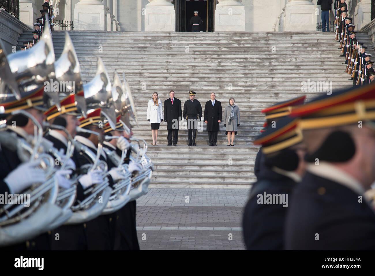 Washington, DC, USA. 15. Januar 2017. Die militärischen Stand-ins für den Präsidenten, Vizepräsidenten Stockbild