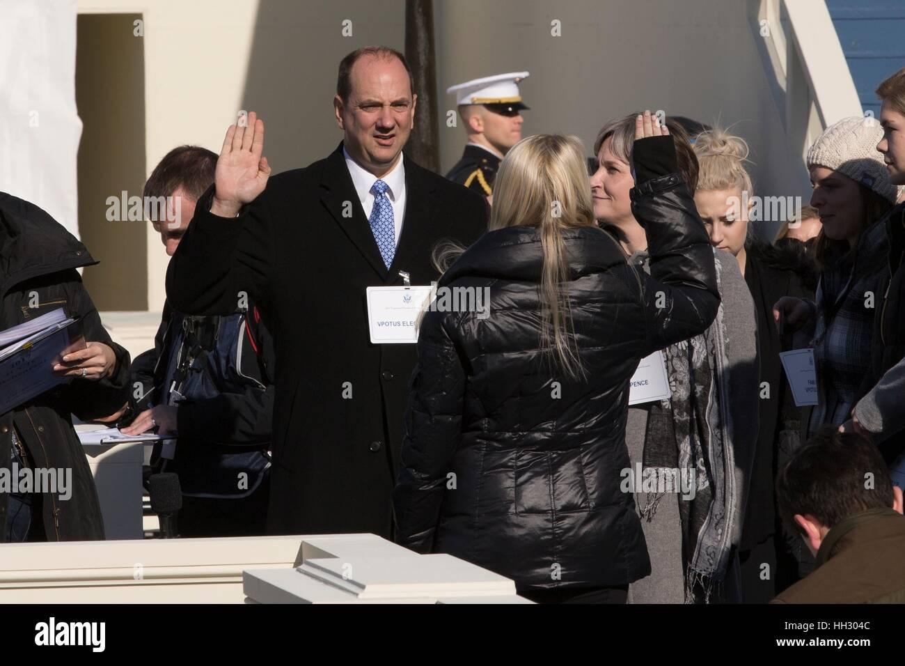 Washington, DC, USA. 15. Januar 2017. Stand-in für Vice President wählen Mike Pence wird während Stockbild