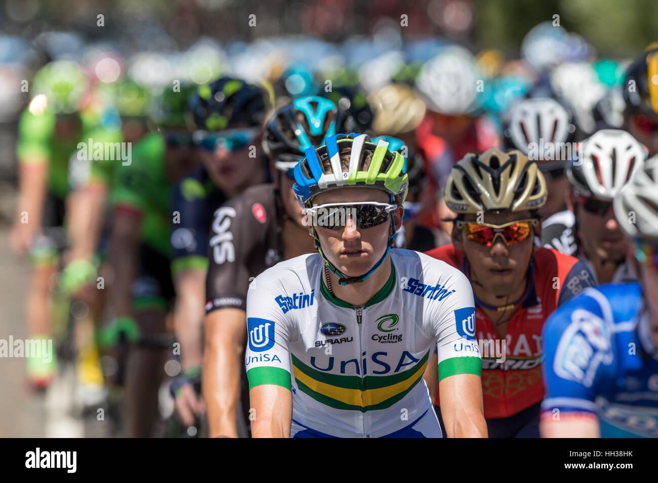 Adelaide, Australien. 17. Januar 2017. Radfahrer vom Team UNISA (UNA) in Phase 1 der Santos Tour Down bis 2017. Stockbild