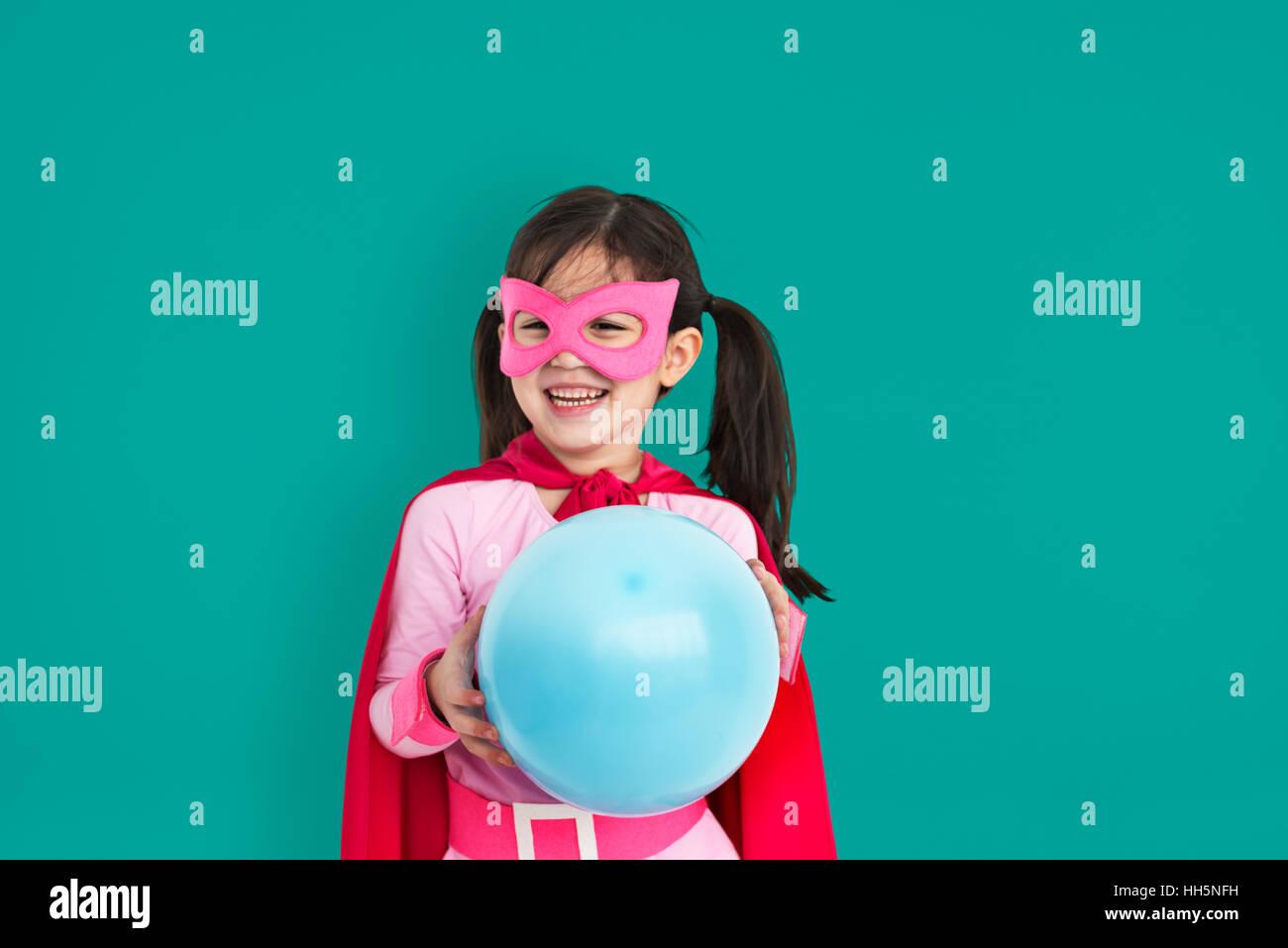 Superheld Mädchen Kind Kind Inspiration Konzept Stockbild