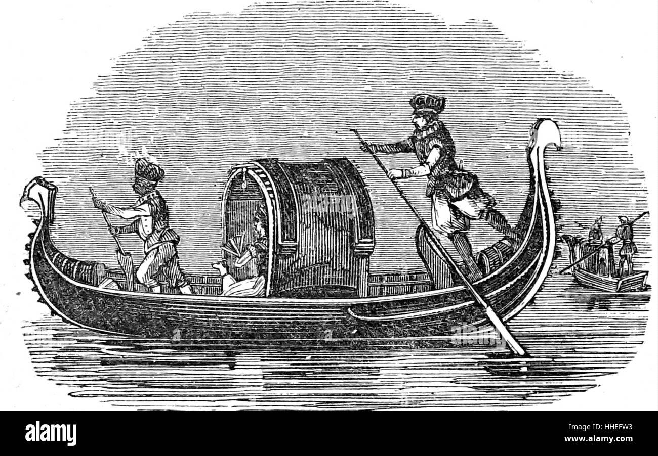 Kupferstich von einer venezianischen Gondel. Vom 19. Jahrhundert Stockbild