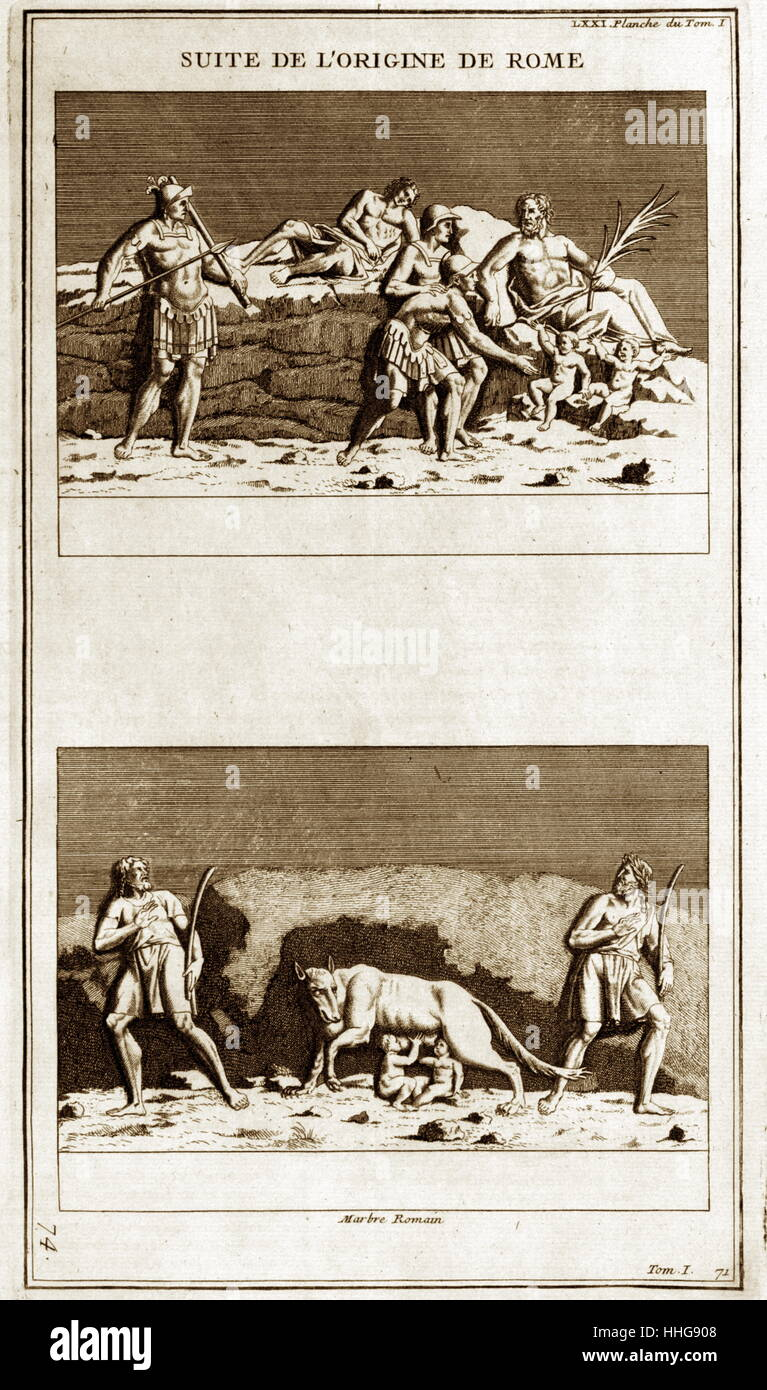 Darstellung von Romulus und Remus, die legendären Gründer des antiken Roms. Stockbild