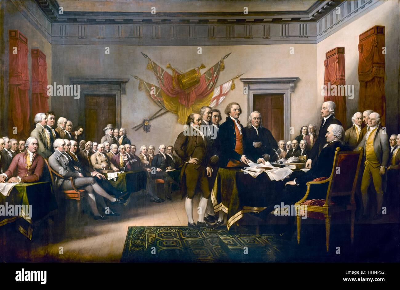 """""""Unabhängigkeitserklärung"""", 1817-Öl-Gemälde von John Trumbull (1756-1843) amerikanische Stockbild"""