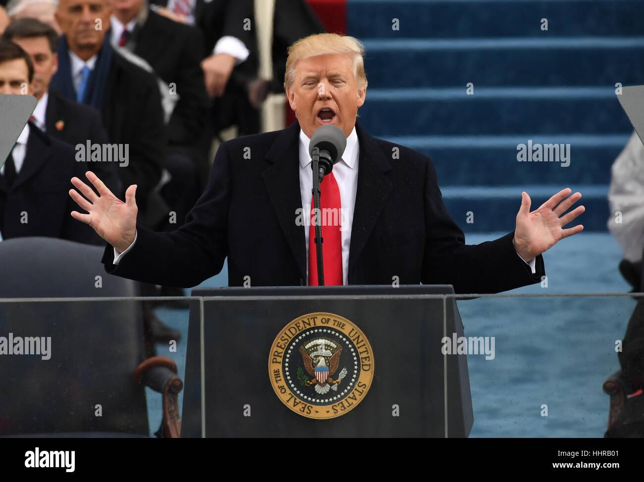 Washington, USA. 20. Januar 2017. Washington, USA. 20. Januar 2017. Präsident Donald Trump liefert seine Antrittsrede Stockbild
