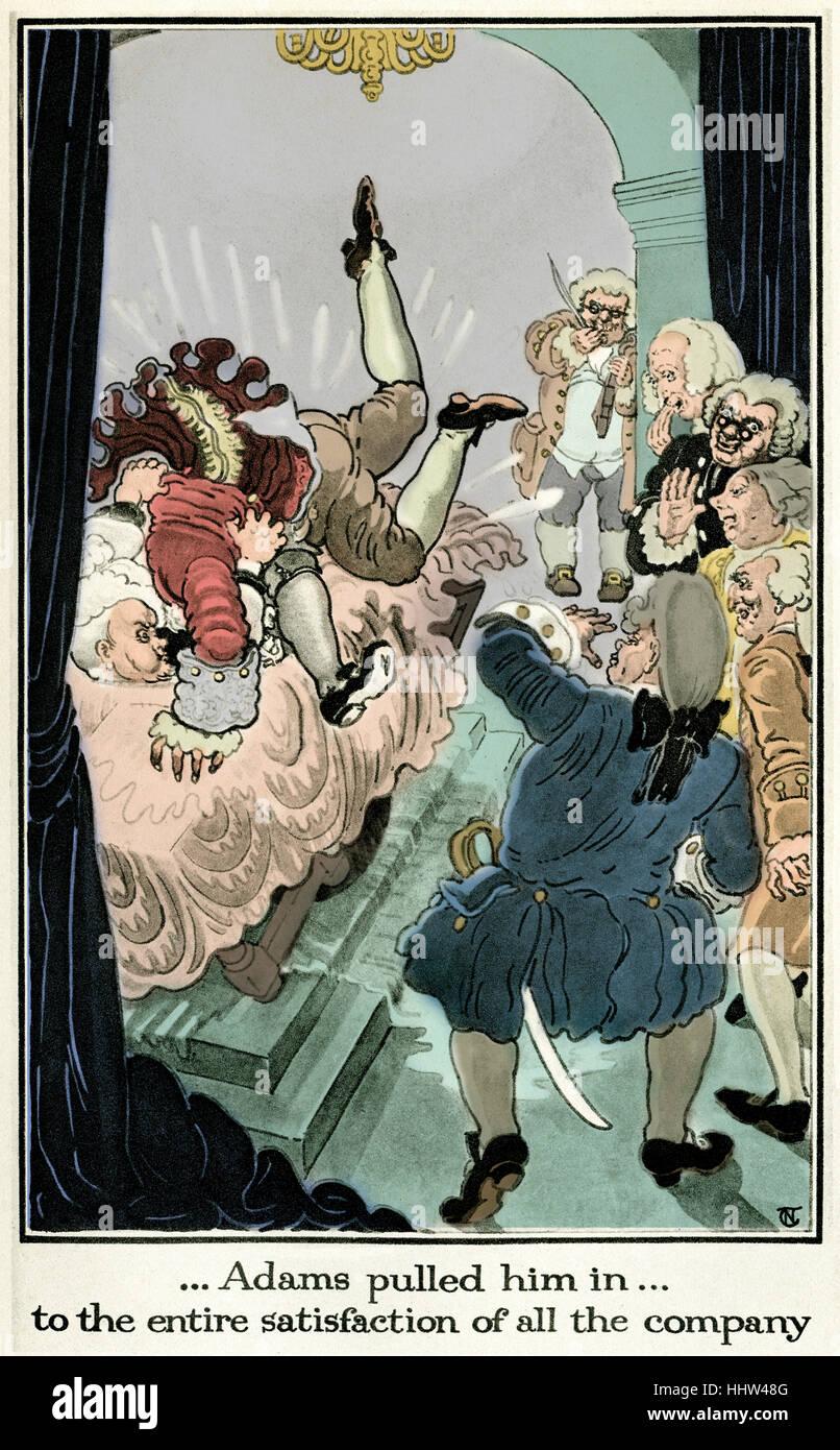 Die Geschichte von die Abenteuer des Joseph Andrews und sein Freund Herr Abraham Adams von Henry Fielding. Illustration Stockbild