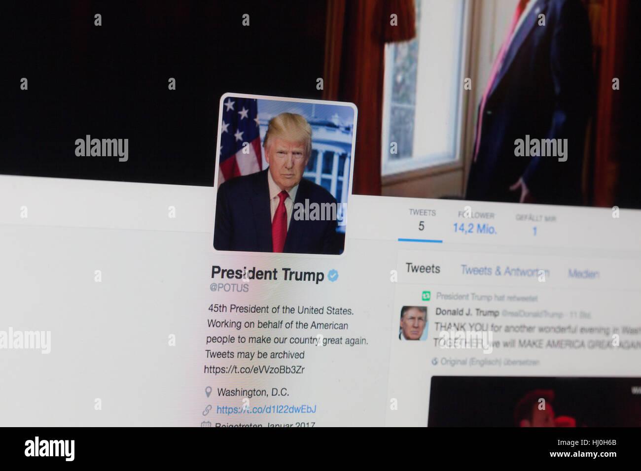 BERLIN, Deutschland - 21. Januar 2017: Nahaufnahme, das Profilbild von Donald Trump auf der offiziellen POTUS Twitter Stockbild