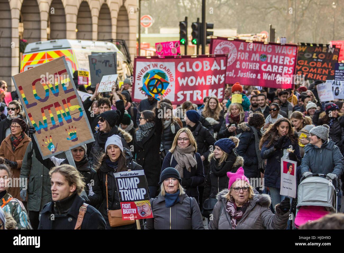 London, UK. 21. Januar 2017. Am Wochenende vom Donald Trump Einweihung als 45. Präsident der Vereinigten Staaten Stockbild