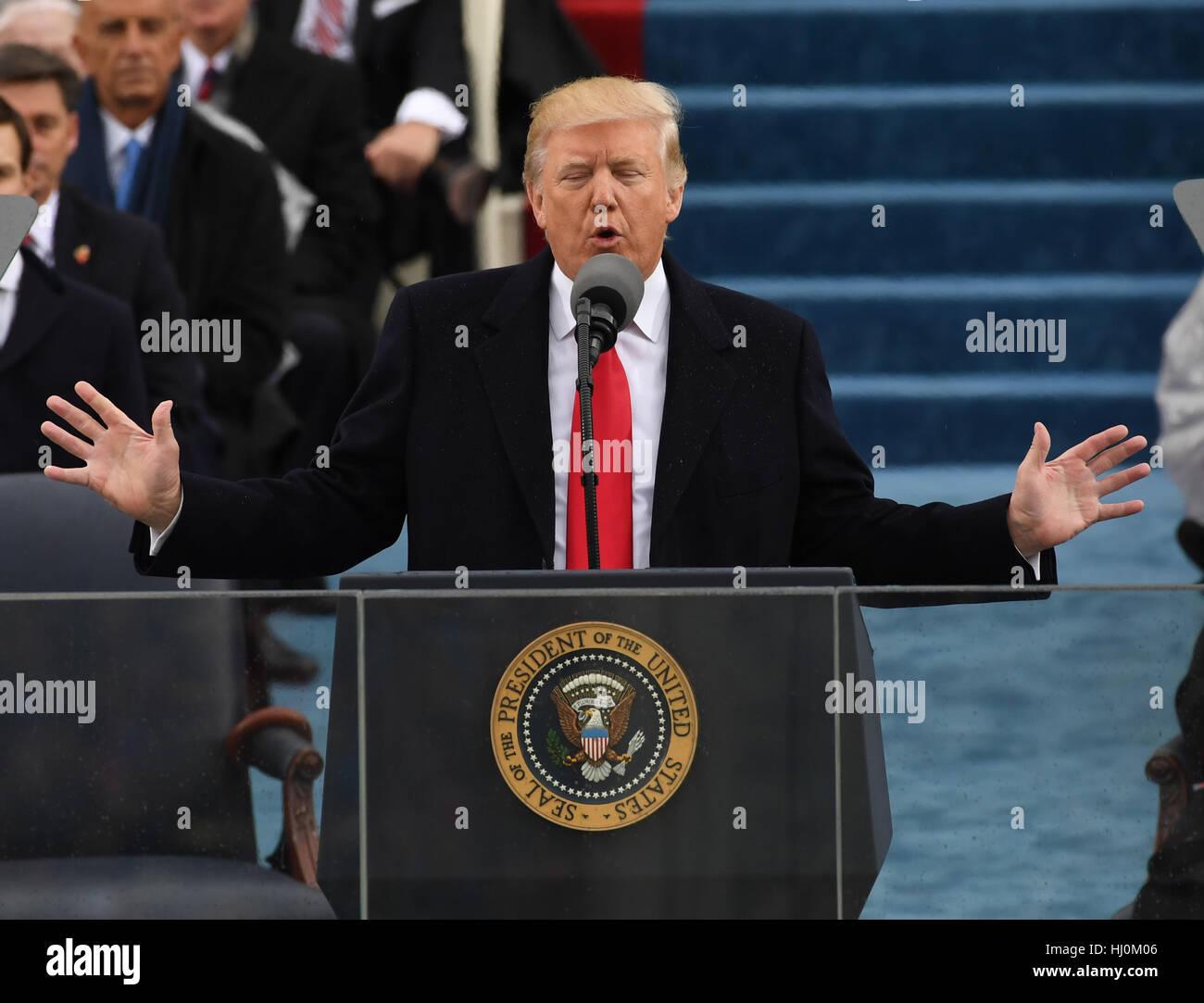 Präsident Donald Trump liefert seine Antrittsrede bei der Einweihung am 20. Januar 2017 in Washington, DC Trump Stockfoto