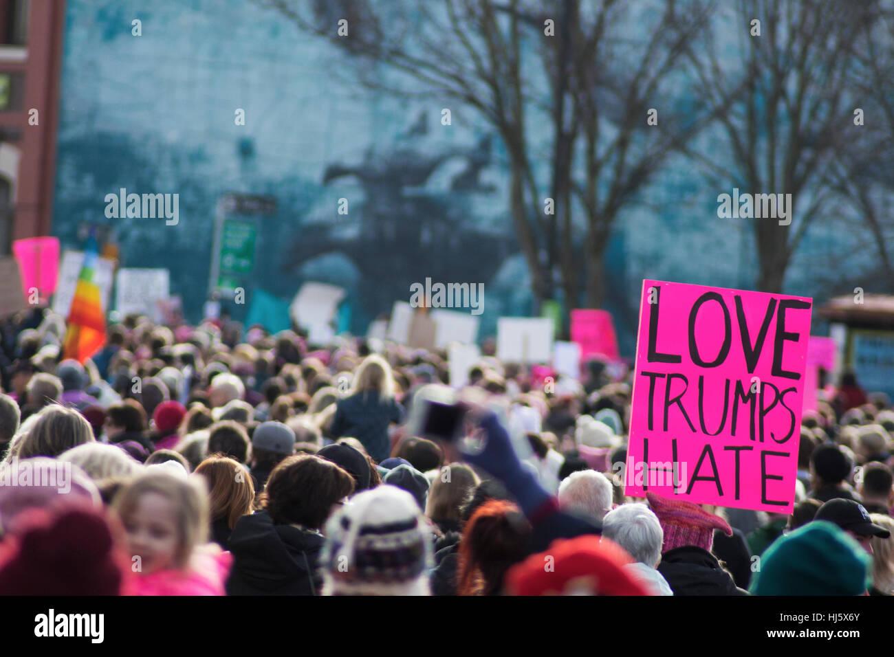 Frauen März in Victoria BC am ersten Tag des Trump Präsidentschaft Stockfoto