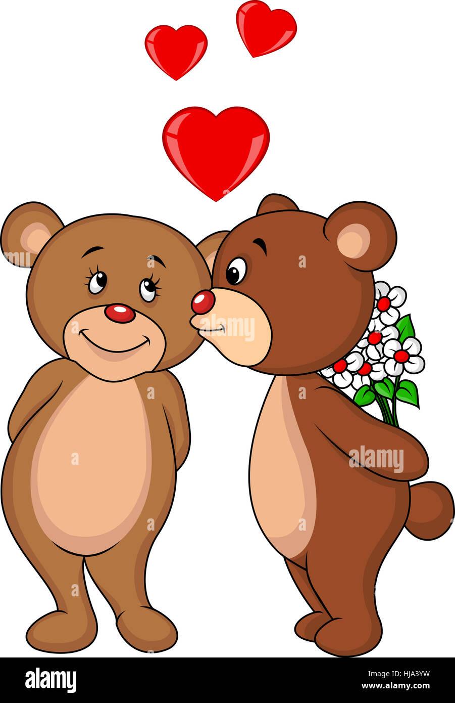 Umarmung Cartoon Tier Liebe Verliebt Verliebte Kussen Paar