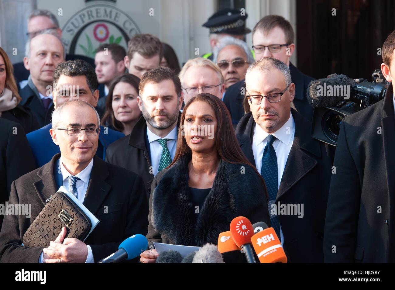 London, UK. 24. Januar 2017.Gina Miller im Gespräch nach der oberste Gerichtshof wies die Regierung Beschwerde in Stockfoto