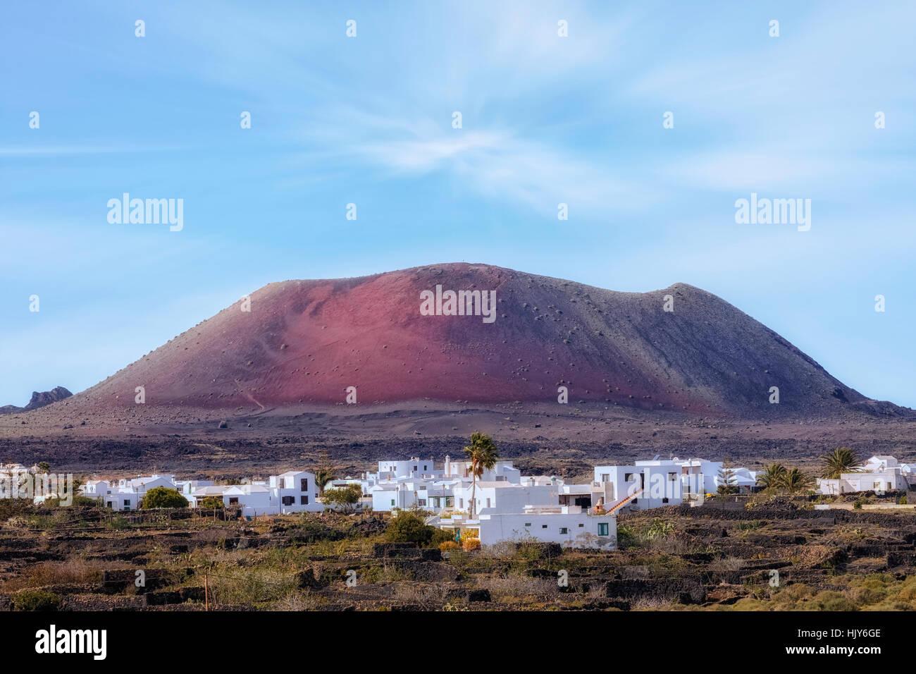 Caldera Colorada, Tinajo, Lanzarote, Kanarische Inseln, Spanien Stockbild