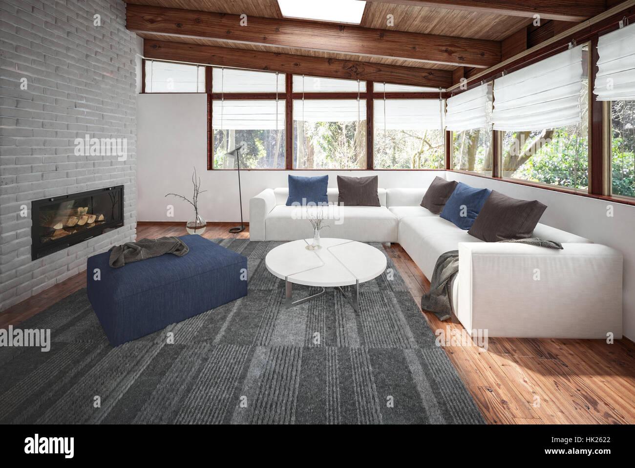 Wohnzimmer mit holzboden und decke vielen fenstern und kamin