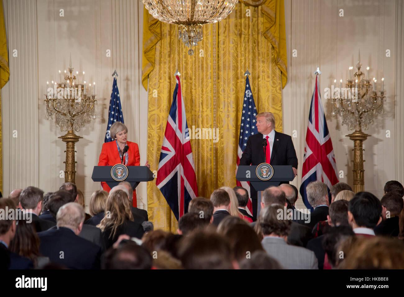 Washington, DC, 27. Januar 2017, Präsident Donald J. Trump, begrüßt Premierminister des Vereinigten Königreichs, Stockfoto