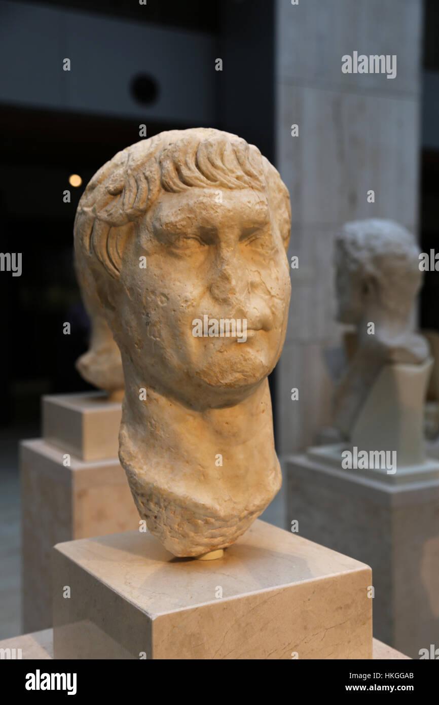 Trajan. Römischer Kaiser von 98 bis 117 n. Chr.. Marmor. Frühen 2. Jahrhundert. Büste. Spanien. Stockbild
