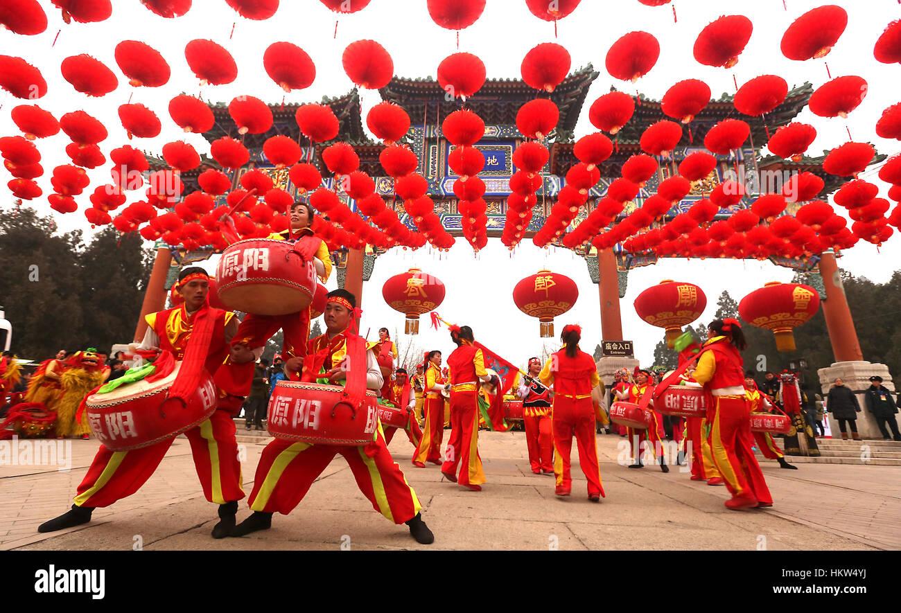 28. Januar 2017 - Peking, CHINA - chinesische A Trommel-Truppe im Rahmen einer Veranstaltung zu Beginn des chinesischen Stockfoto