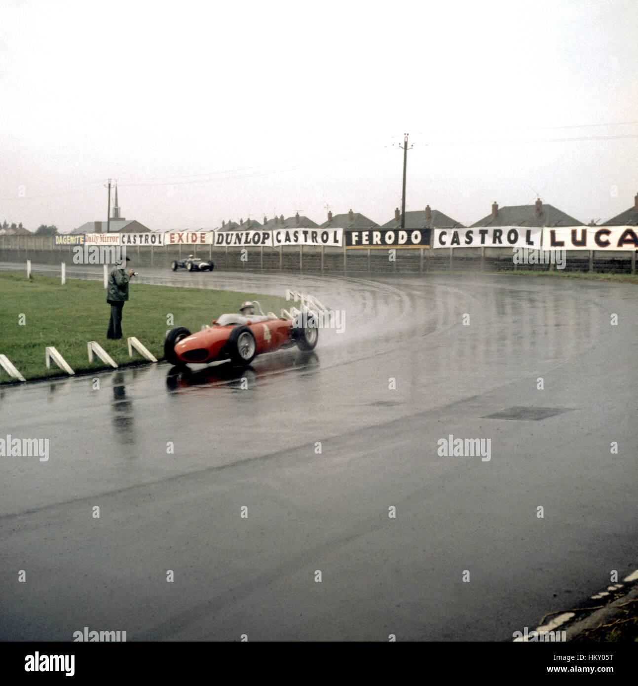 1961 Graf Wolfgang von Trips deutsche Ferrari 156 Aintree British GP 1. GG Stockbild