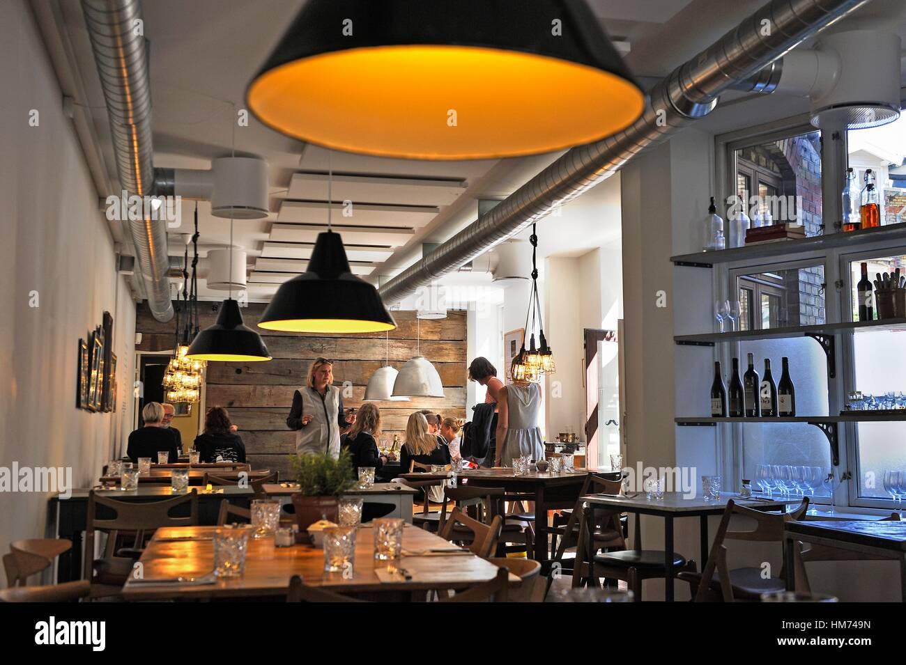 Restaurant Langhoff & Juul, Guldsmedgade 30, Latin Quarter, Aarhus, Halbinsel Jütland, Dänemark, in Stockbild