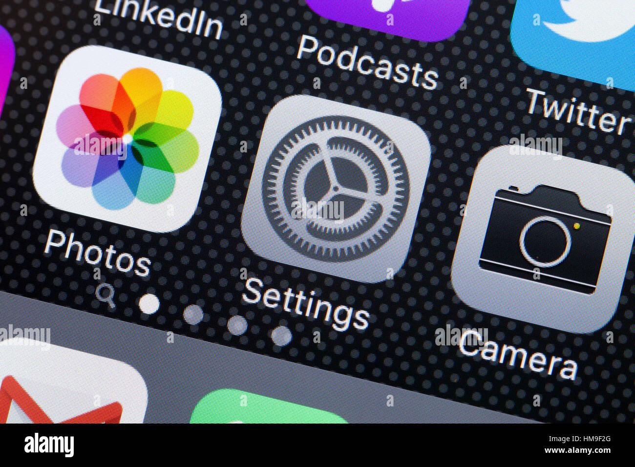 Einstellungen-app-Icon auf dem iPhone Bildschirm - USA Stockbild