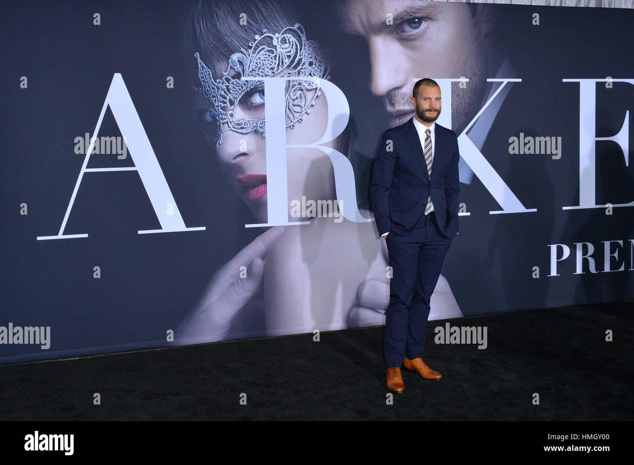 """Los Angeles, Kalifornien, USA. 2. Februar 2017. Schauspieler Jamie Dornan bei der Premiere von """"Fifty Shades Darker"""" Stockfoto"""