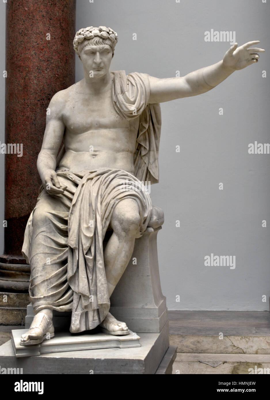 Sitzen, Trajan - Marcus Ulpius Nerva Traianus Augustus 53-117 n. Chr. römischer Kaiser, Rom, Italien, Italienisch, Stockbild