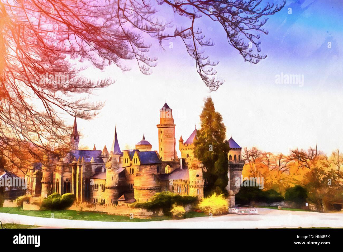 Antike Burg. Die Werke im Stil der Aquarellmalerei Stockbild