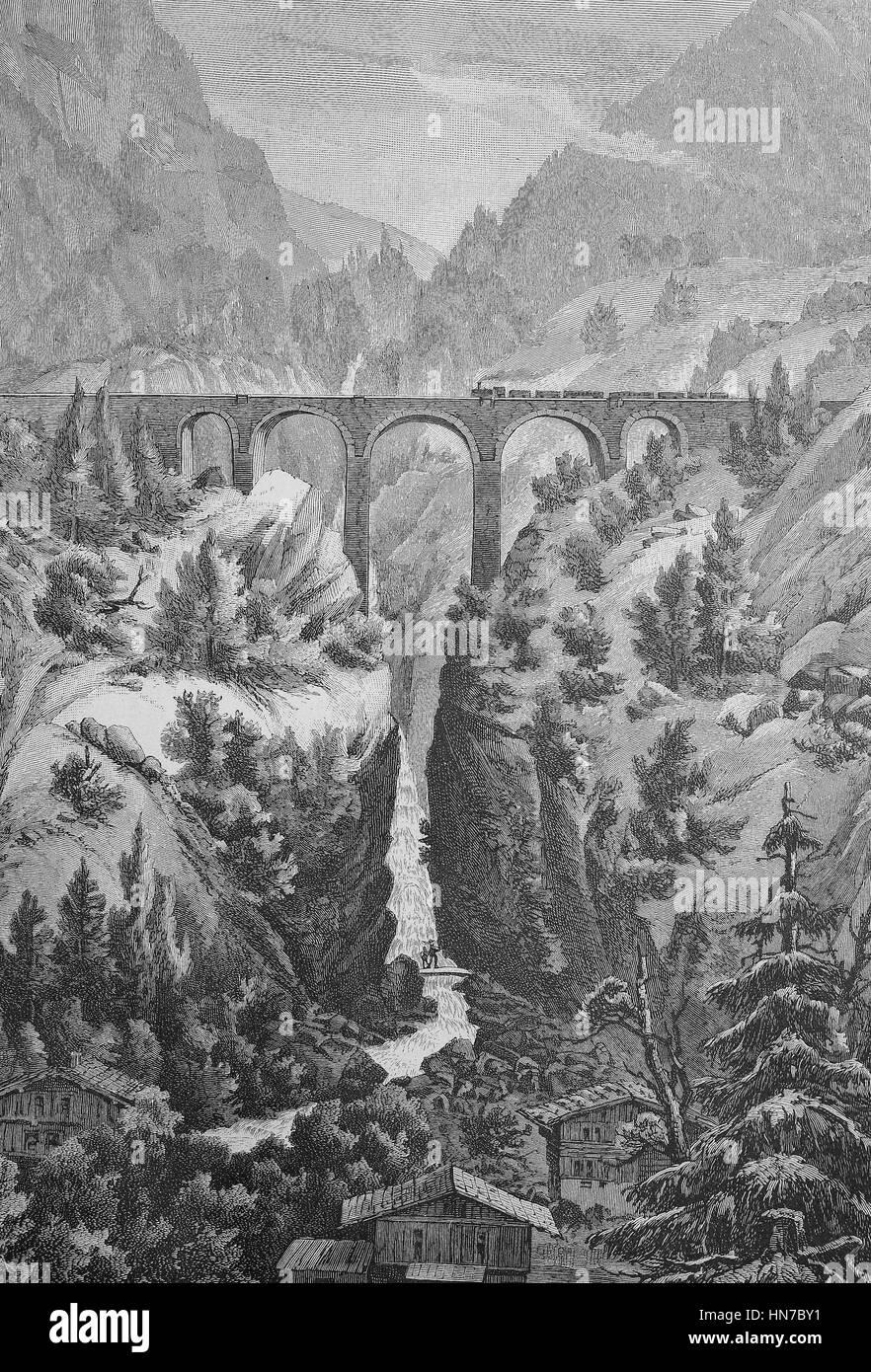 Das Viadukt der Arlbergbahn in Dalaas, Österreich, Das Viadukt der Arlbergbahn Bei Dalaas, Oesterreich, Holzschnitt Stockbild