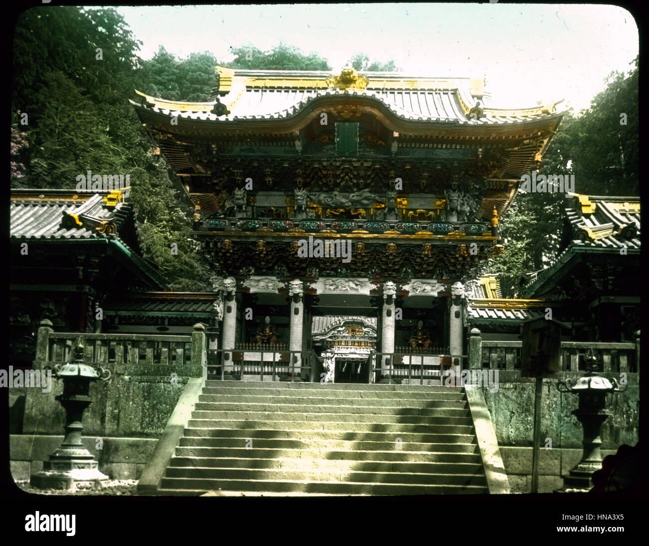Herbert Geddes, Leben in Japan, ca. 1910 - Nahaufnahme des ornamentalen Gebäude mit Gold verziert Stockbild