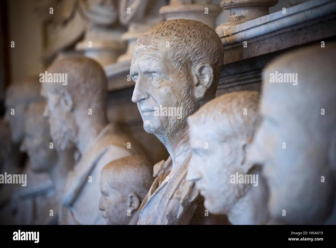 Rom. Italien. Porträtbüste von Roman Emperor Trajan Decius (ca. 201-251), Capitoline Museum. Musei Capitolini. Stockbild