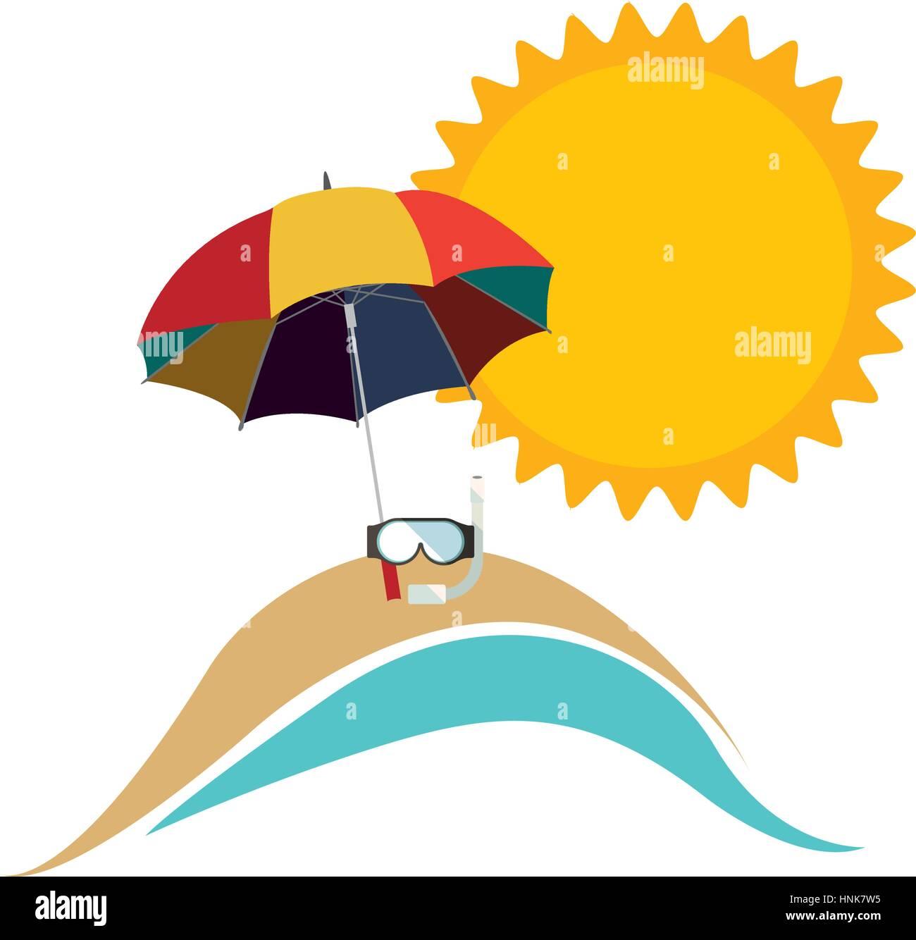Sonnenschirm strand clipart  Symbol-Strand mit Sonnenschirm Symbolbild, Vektor-illustration ...