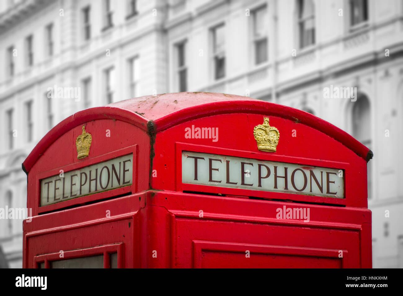 Britische rote Telefonzelle, London, UK Stockbild