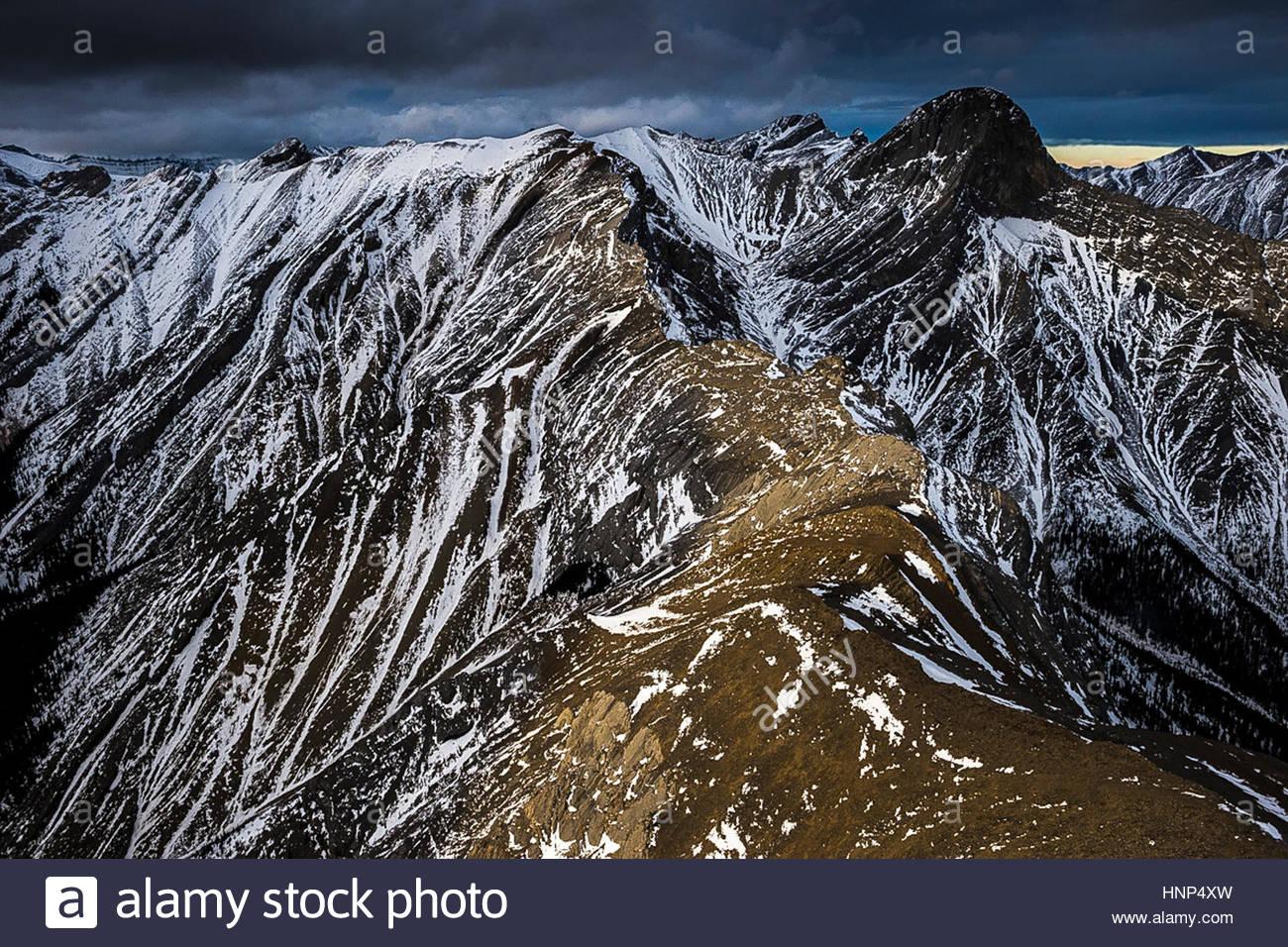 Luftperspektive der kanadischen Rockies und Columbia River. Stockbild