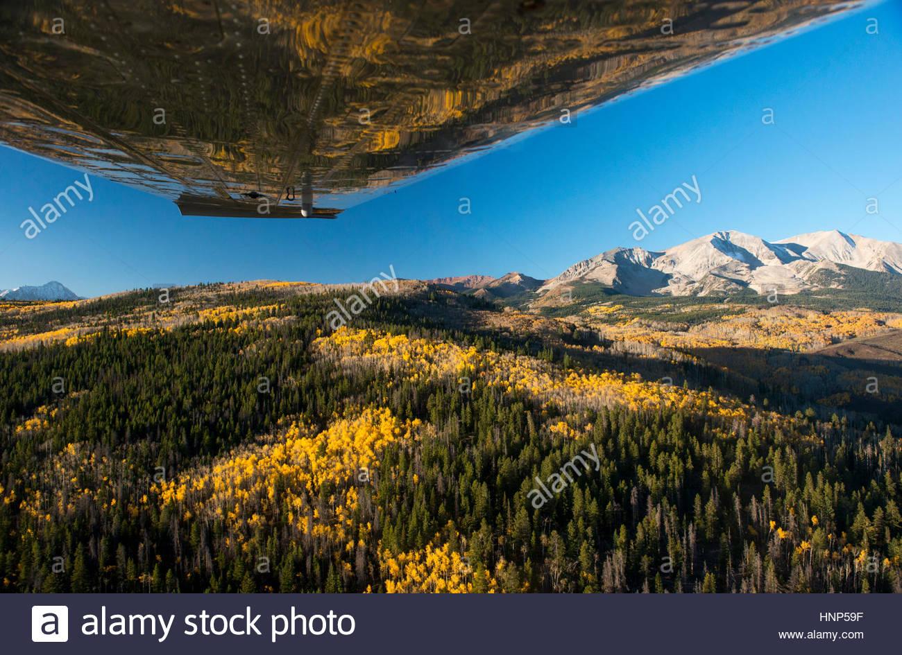 Ein Flugzeug fliegt über die Elk Mountain Range in Colorado. Stockbild